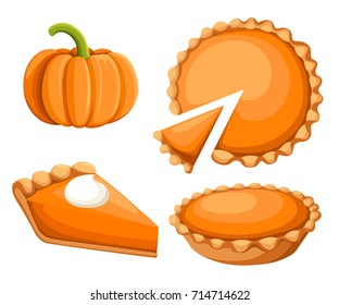 Pies Vector Illustration.Thanksgiving and Holiday Pumpkin Pie. Happy Thanksgiving Day traditional pumpkin pie with whipped cream on the top Web site page and mobile app design vector element.
