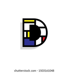 Piet Monderiaan Vector Logo Letter D. D Retro De Stijl Mondrian Letter Design Vector