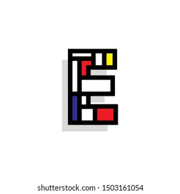 Piet Monderiaan Vector Logo Letter E. E Retro De Stijl Mondrian Letter Design Vector
