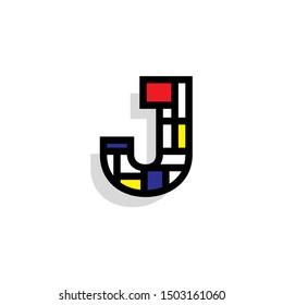 Piet Monderiaan Vector Logo Letter J. J Retro De Stijl Mondrian Letter Design Vector