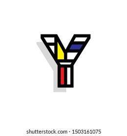 Piet Monderiaan Vector Logo Letter Y. Y Retro De Stijl Mondrian Letter Design Vector