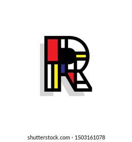 Piet Monderiaan Vector Logo Letter R. R Retro De Stijl Mondrian Letter Design Vector