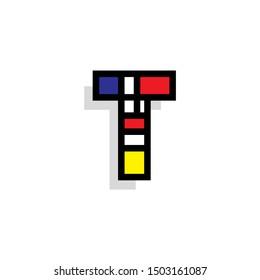 Piet Monderiaan Vector Logo Letter T. T Retro De Stijl Mondrian Letter Design Vector