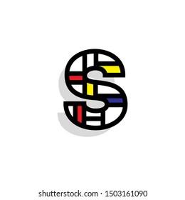 Piet Monderiaan Vector Logo Letter S. S Retro De Stijl Mondrian Letter Design Vector