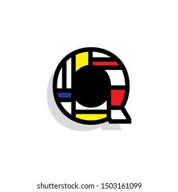 Piet Monderiaan Vector Logo Letter Q. Q Retro De Stijl Mondrian Letter Design Vector