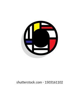 Piet Monderiaan Vector Logo Letter O. O Retro De Stijl Mondrian Letter Design Vector