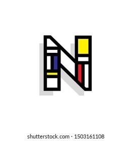 Piet Monderiaan Vector Logo Letter N. N Retro De Stijl Mondrian Letter Design Vector