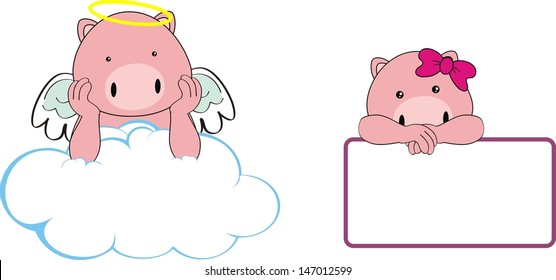 pig angel baby cartoon copyspace in vector format very easy to edit