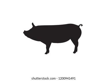 Pig animal black silhoutte icon symbol