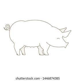 Pig animal. Pork. Outline line contour vector icon illustration.