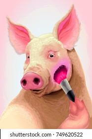 Pig is applying the blush on her cheek. Vector illustration.