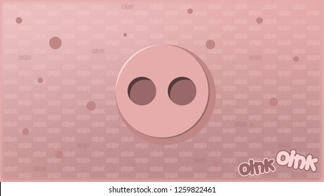 Pig background. Pig's penny on a pink background. Oink oink. Cartoon Vector