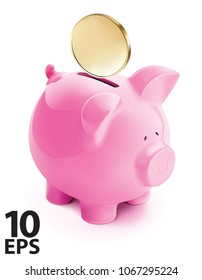 Pig bank with coin, isolated. Vector 3d illustration