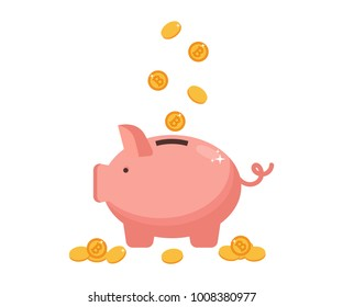 Pig  bank and gold bitcoins. Concept of modern earnings and savings. Vector Illustration.Flat design