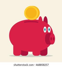 Pig bank vector icon illustration.