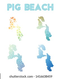 Pig Beach geometric polygonal, mosaic style island maps collection. Modern design for your infographics or presentation.