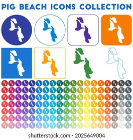 Pig Beach icons collection. Bright colourful trendy map icons. Modern Pig Beach badge with island map. Vector illustration.
