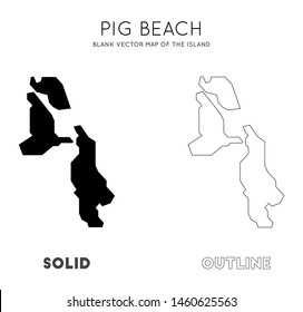 Pig Beach map. Blank vector map of the Island. Borders of Pig Beach for your infographic. Vector illustration.