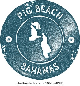 Pig Beach map vintage stamp. Retro style handmade label, badge or element for travel souvenirs. Blue rubber stamp with island map silhouette. Vector illustration.