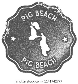 Pig Beach map vintage stamp. Retro style handmade label, badge or element for travel souvenirs. Grey rubber stamp with island map silhouette. Vector illustration.
