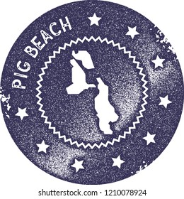Pig Beach map vintage stamp. Retro style handmade label, badge or element for travel souvenirs. Deep purple rubber stamp with island map silhouette. Vector illustration.