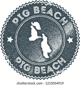 Pig Beach map vintage stamp. Retro style handmade label, badge or element for travel souvenirs. Dark blue rubber stamp with island map silhouette. Vector illustration.