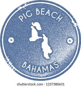 Pig Beach map vintage stamp. Retro style handmade label, badge or element for travel souvenirs. Light blue rubber stamp with island map silhouette. Vector illustration.