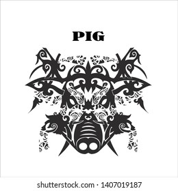 PIG black and white Dayak art collection