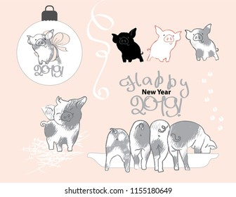 Pig with a bow on the Christmas ball, four funny, mischievous pig, piglets eat from the trough. Happy New year 2019