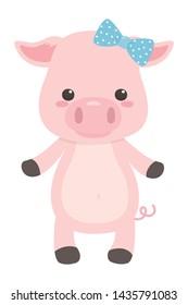 Pig cartoon with bowtie design