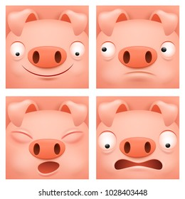 Pig cartoon character icon set Square button collection. Vector illustration