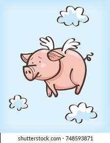 pig cartoon flying