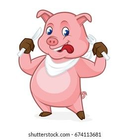 Pig cartoon holding fork and knife isolated in white background