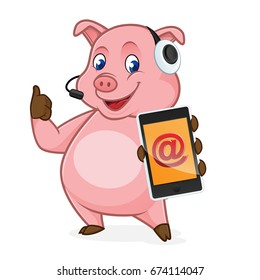 Pig cartoon holding phone and wearing headphone isolated in white background