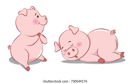 Pig cartoon pink Are happy and sleep
