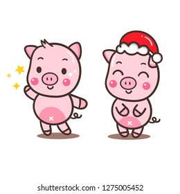 Pig cartoon of vector illustrations (Happy new year/Happy chinese new year) - card and Print for t-shirt. Romantic hand drawing or instructional media illustration for children.