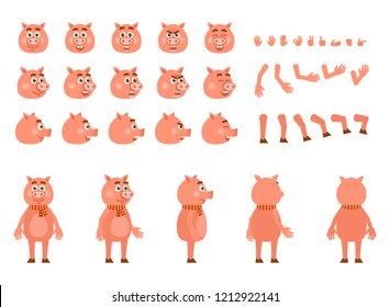 Pig character creation kit. Create your own actions, emotions, poses, facial expressions. Flat design vector illustration