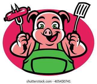 Pig CHaracter holding the bbq fork and sausage