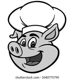 Pig with Chef Hat Illustration - A vector cartoon illustration of a Pig with a Chef Hat.