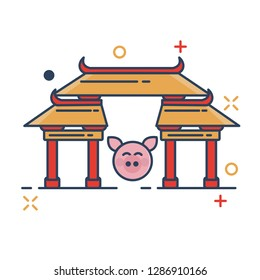 Pig Chinese New Year 2019 Icon | Chinatown - with Outline Filled Style