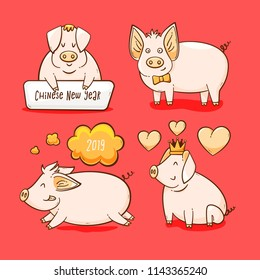 Pig, Chinese New Year symbol of 2019, vector set