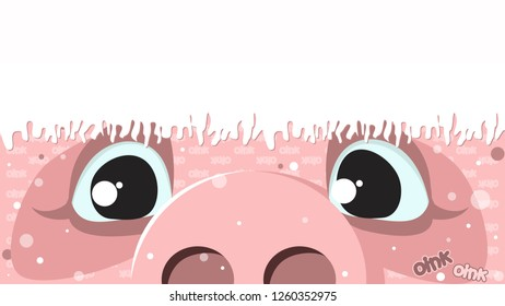Pig, Christmas background with a pig in Santa Claus hat. Congratulation, festive background. Vector