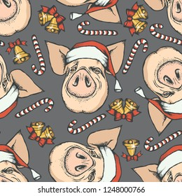 Pig Christmas vector illustration seamless pattern. Year of the pig concept. Pig heads with Christmas bells
