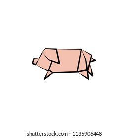 pig colored origami style icon. Element of animals icon. Made of paper in origami technique vector Illustration pig icon can be used for web and mobile on white background
