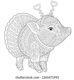 Pig. Coloring page. Coloring book. Anti stress colouring picture with cute piggy. 2019 Chinese New Year animal symbol. Freehand sketch drawing with doodle and zentangle elements.