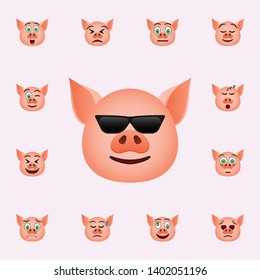 Pig in cool in sunglasses emoji icon. Pig emoji icons universal set for web and mobile