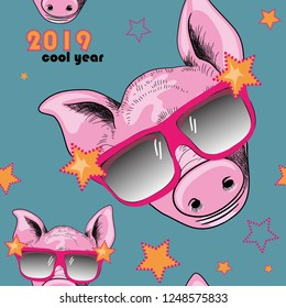 Pig with cool sunglasses seamless pattern.  Cool year 2019. Vector illustration of cool pig with sunglasses on blue background