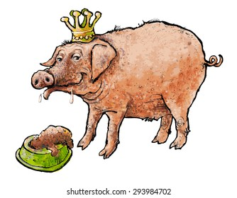 pig with crown, birthday meal
