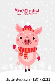 Pig cute Christmas card