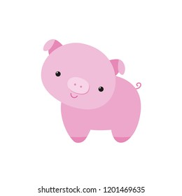 Pig cute piglet little piggy flat cartoon vector illustration funny animal character, Chinese new year 2019 symbol, kawaii style, farm domestic mammal, for game, logo, kids book, animation, card, etc.